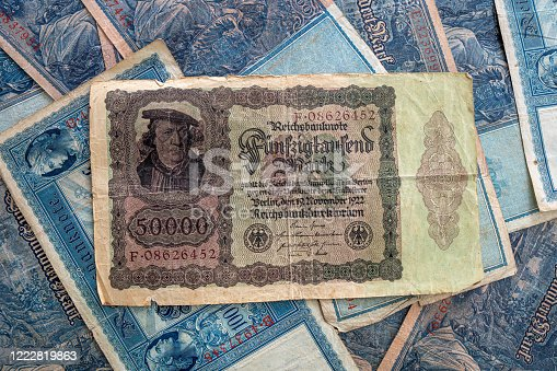 istock some old historical German banknotes lie spread out on a table 1222819863