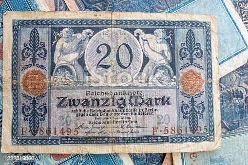 istock some old historical German banknotes lie spread out on a table 1222819866