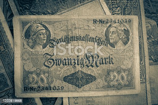 istock some old historical German banknotes lie spread out on a table 1222819868