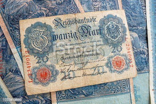 istock some old historical German banknotes lie spread out on a table 1222819869