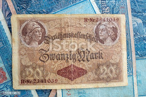 istock some old historical German banknotes lie spread out on a table 1222819870