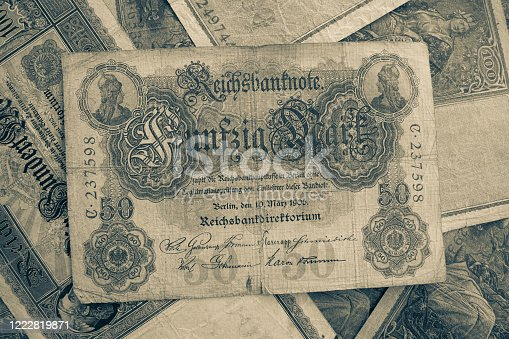 istock some old historical German banknotes lie spread out on a table 1222819871