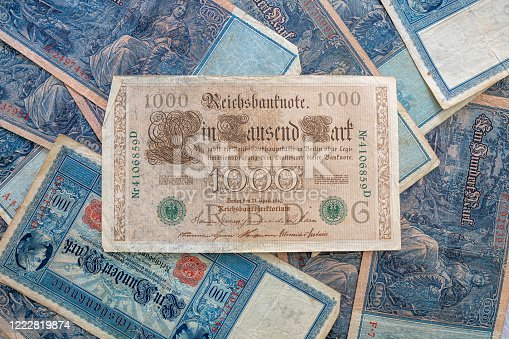 istock some old historical German banknotes lie spread out on a table 1222819874