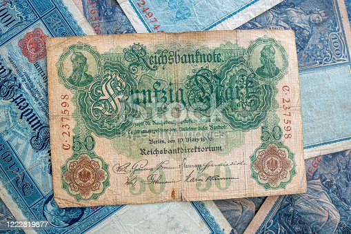 istock some old historical German banknotes lie spread out on a table 1222819877