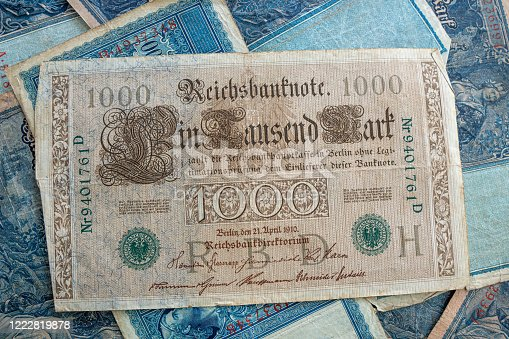 istock some old historical German banknotes lie spread out on a table 1222819878