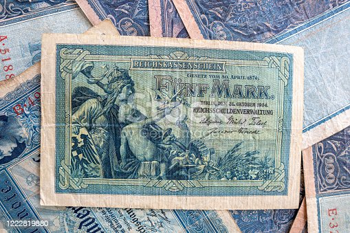 istock some old historical German banknotes lie spread out on a table 1222819880