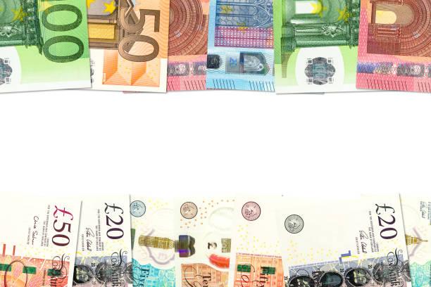 einige Pfund-Sterling-Banknoten und Euro-Banknoten, die auf bilaterale Wirtschaftsbeziehungen mit Kopierraum hinweisen – Foto