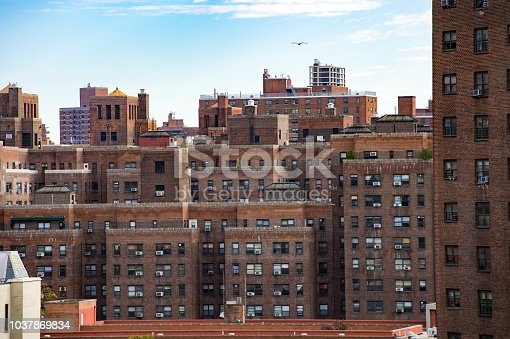 istock Some public houses and apartments seen from the Brooklyn Bridge in Manhattan, New York, USA. 1037869834