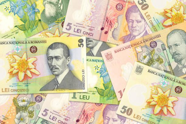 einige rumänische Leu-Banknoten gemischt, was auf wachsende Wirtschaftlichkeit mit Copyspace hindeutet – Foto