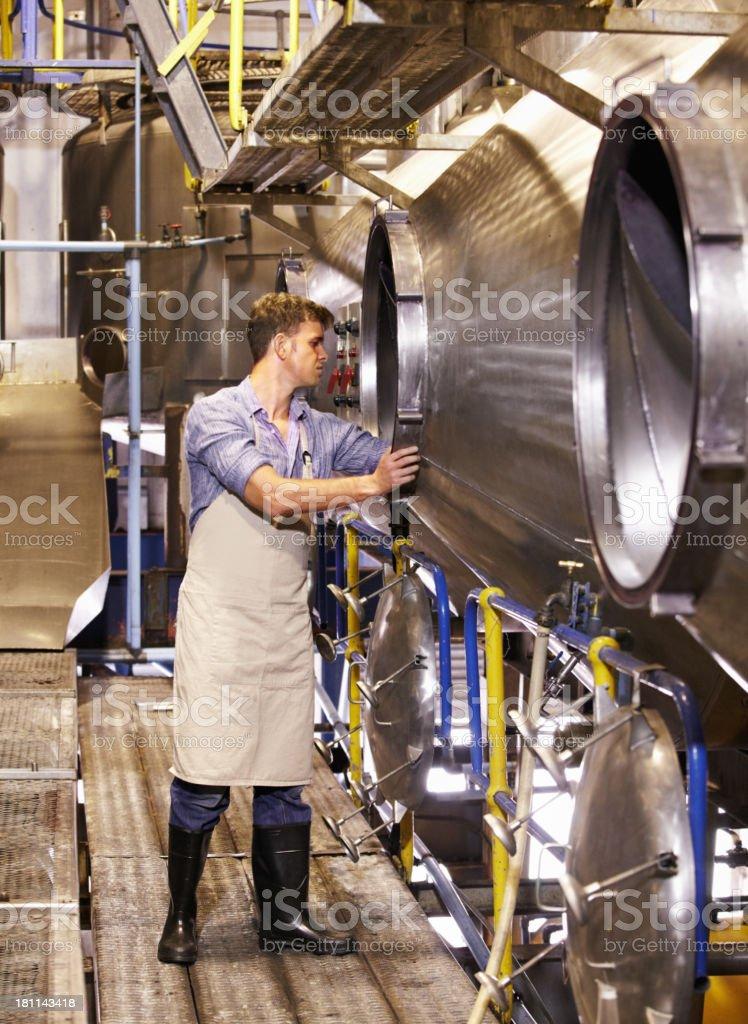 Some routine machine maintenance royalty-free stock photo