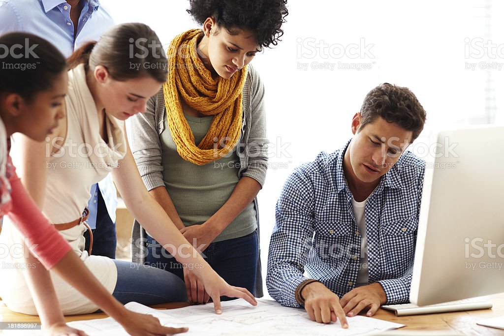 Some serious planning royalty-free stock photo