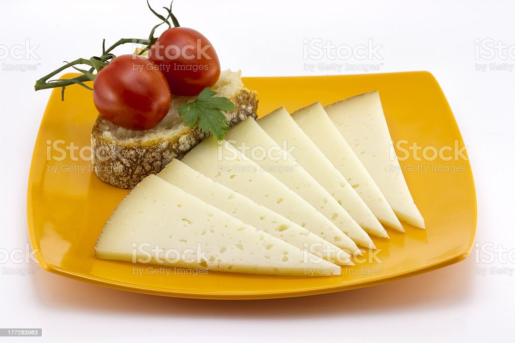some slices of manchego cheese from Spain royalty-free stock photo
