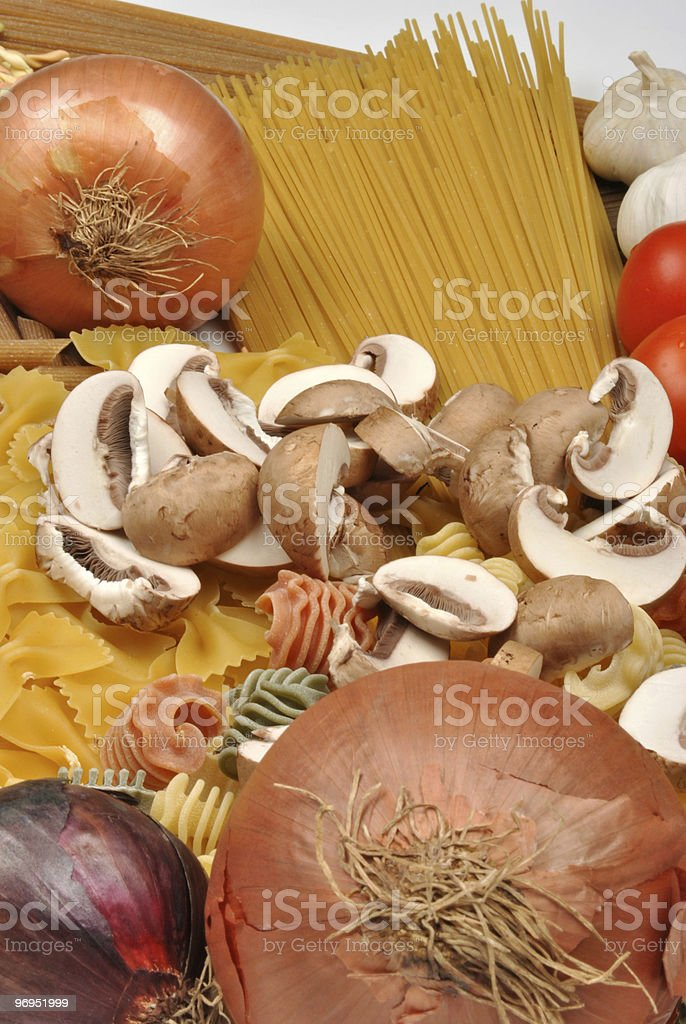 some spaghetti with organic mushroom and onion royalty-free stock photo