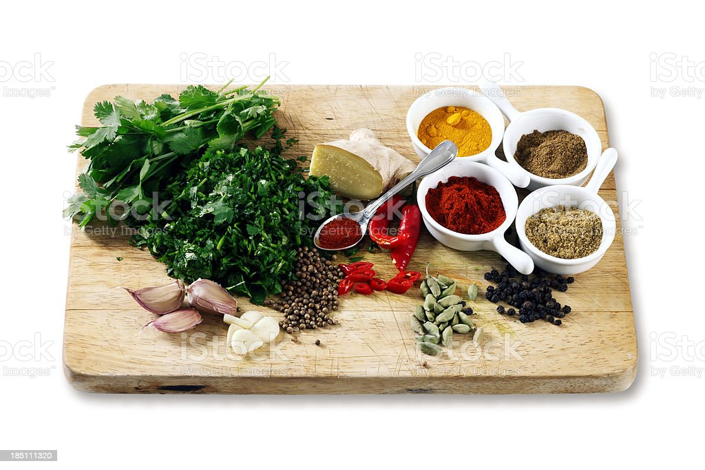 Some Spices and Ingredients for Curry stock photo