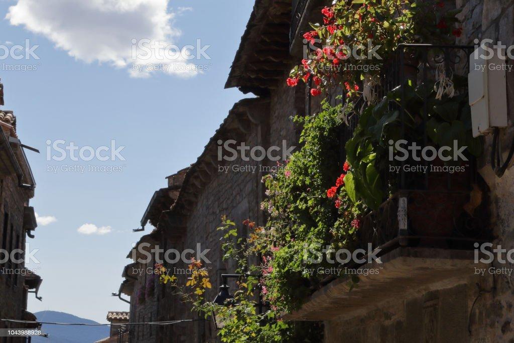 Algunas típicas casas tradicionales con una piedra hizo flores de balcón, rojo y verde las hojas en un azul cielo nublado en la ciudad rural medieval Aínsa, situada en las montañas de Pirineos españoles - foto de stock