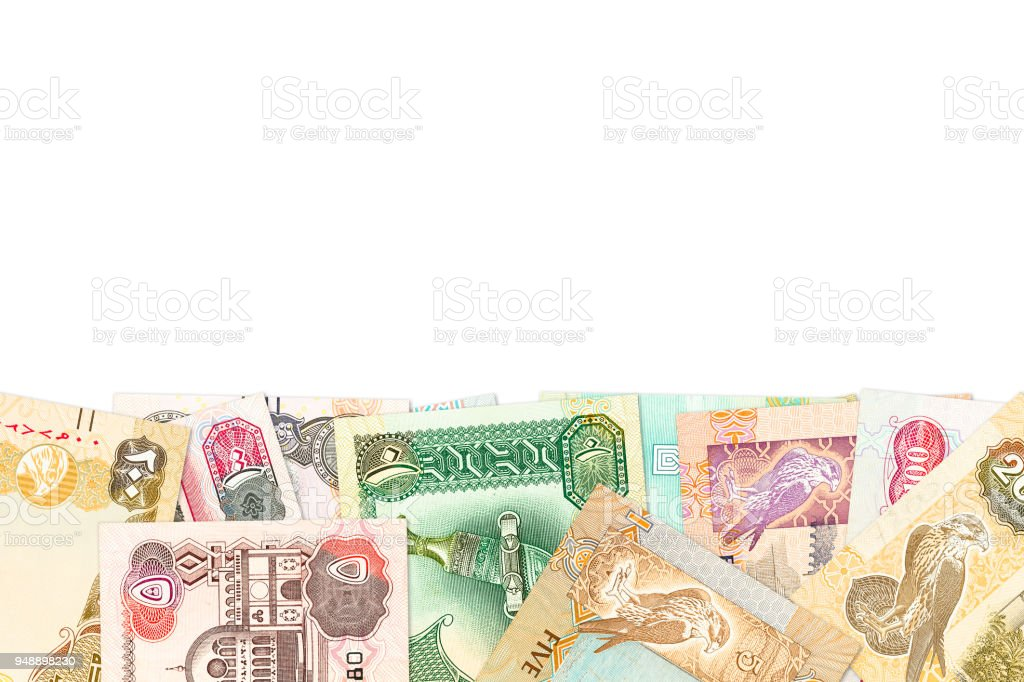 some united arab emirates dirham bank notes isolated on white background stock photo
