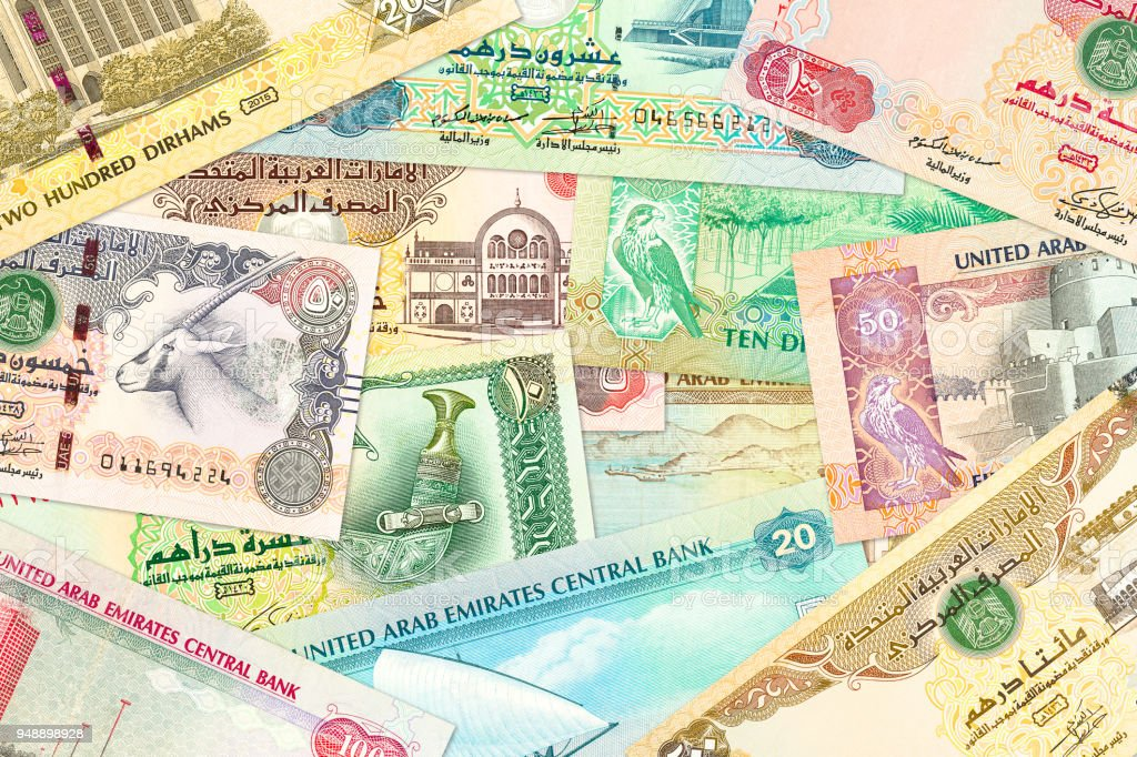 some united arab emirates dirham bank notes stock photo