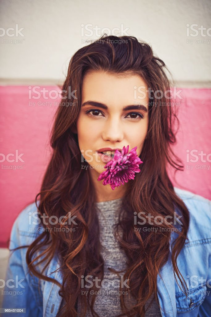 Some women like diamonds, she loves flowers instead royalty-free stock photo