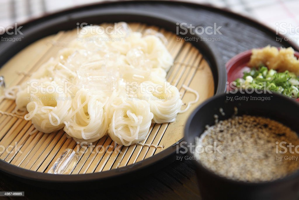 somen, fine wheat noodles stock photo