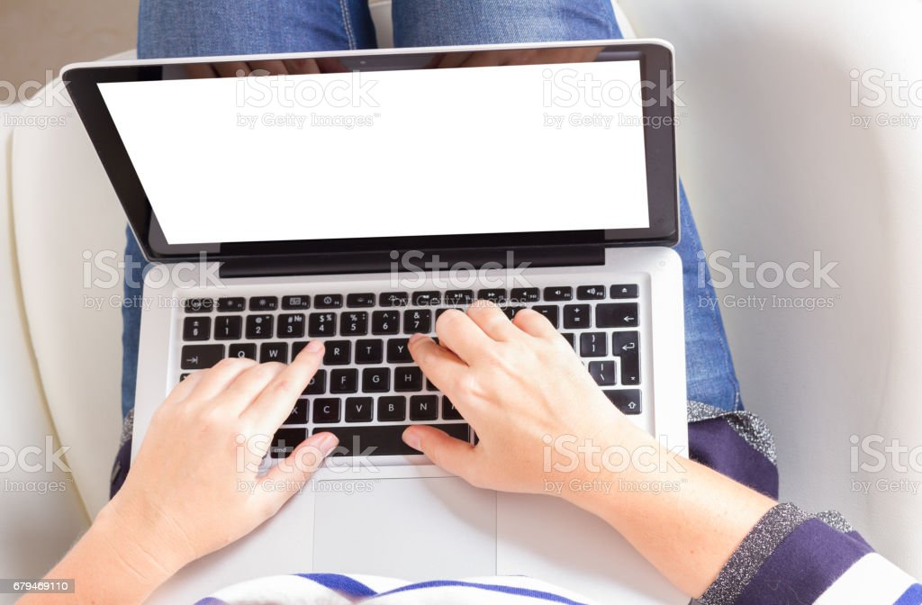 Someones hands and latop royalty-free stock photo