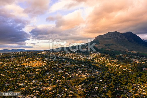 Shot of a town surrounded by mountains at sunset