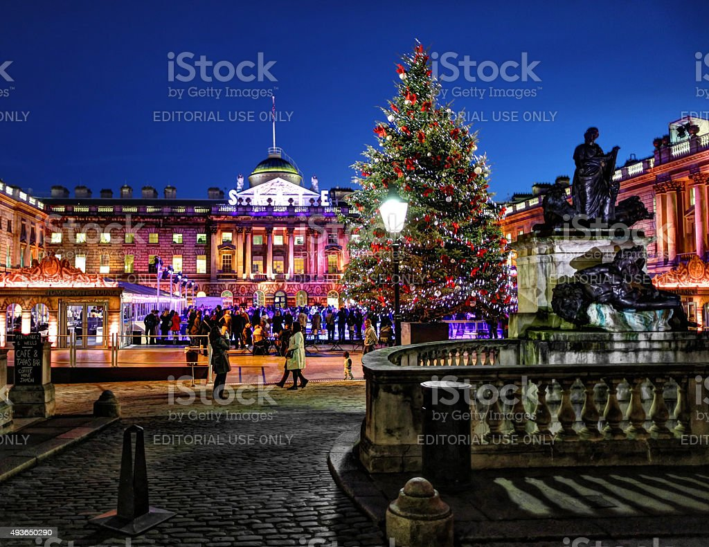 Somerset House at Christmas in the evening stock photo