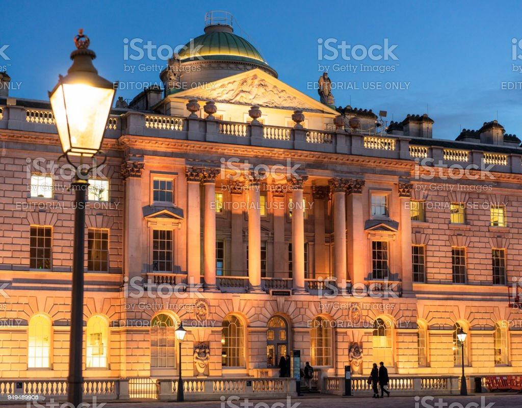 Somerset House in London at dusk stock photo
