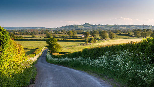 Somerset Levels A lane lined with spring verge flowers leads down to the Somerset Levels, with Glastonbury Tor beyond. somerset england stock pictures, royalty-free photos & images