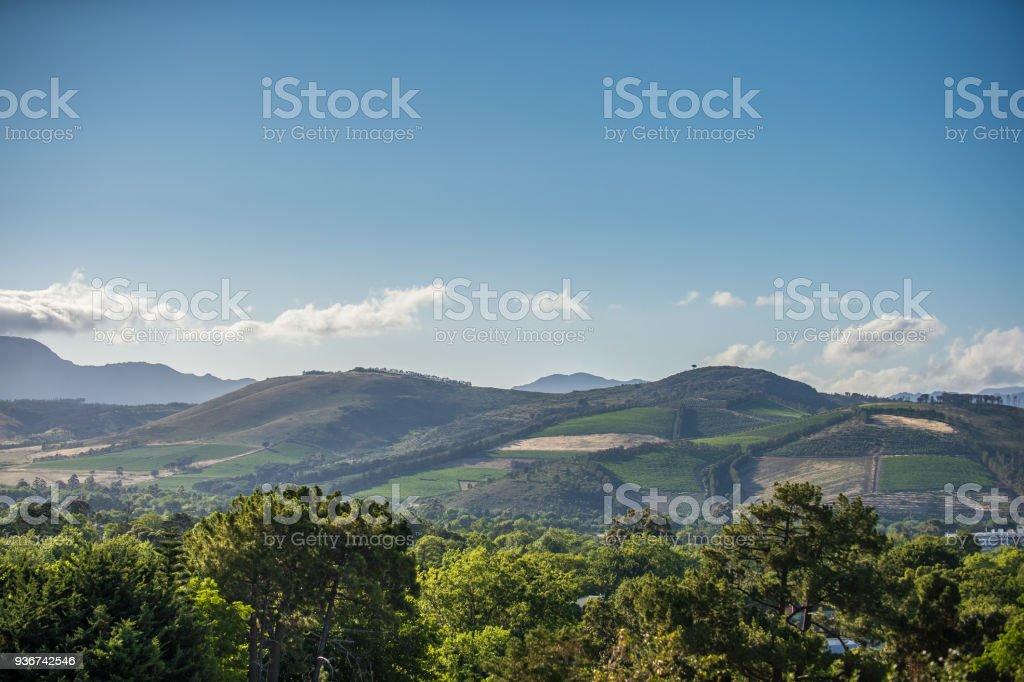 Somerset West Vergelegen Hills rural scene stock photo