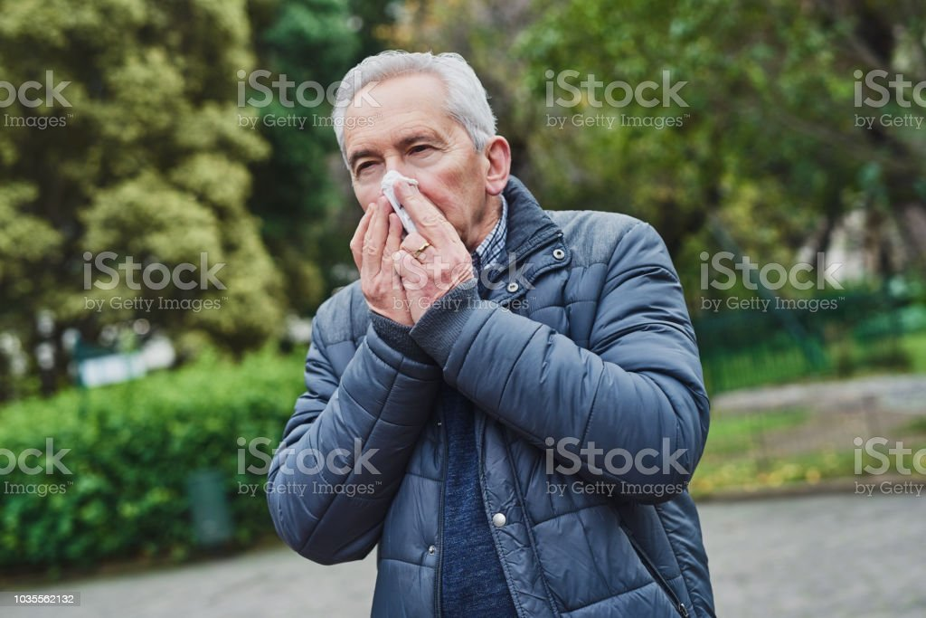 Something in the air doesn't agree with him stock photo