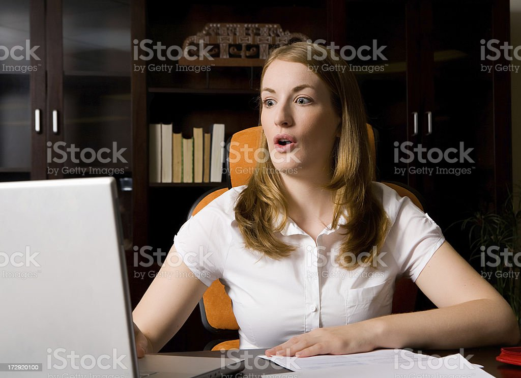 Something on the computer is shocking royalty-free stock photo