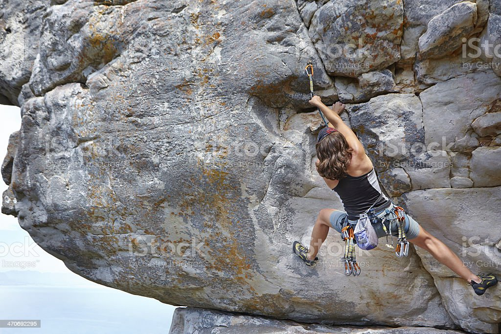Sometimes climbers have to take risks... stock photo