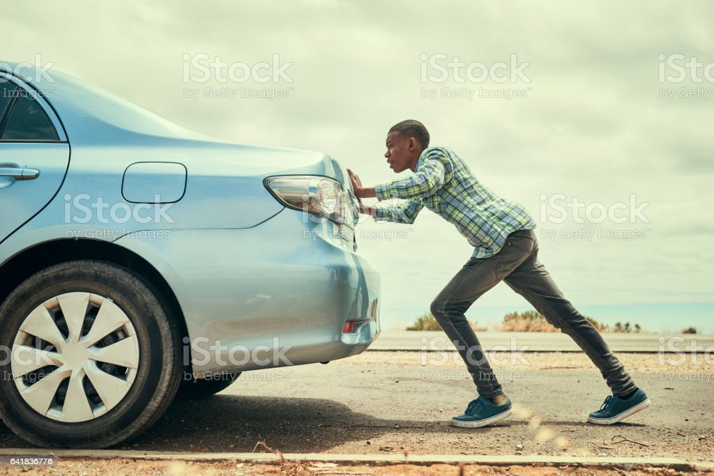 Sometimes you've gotta get out and push stock photo
