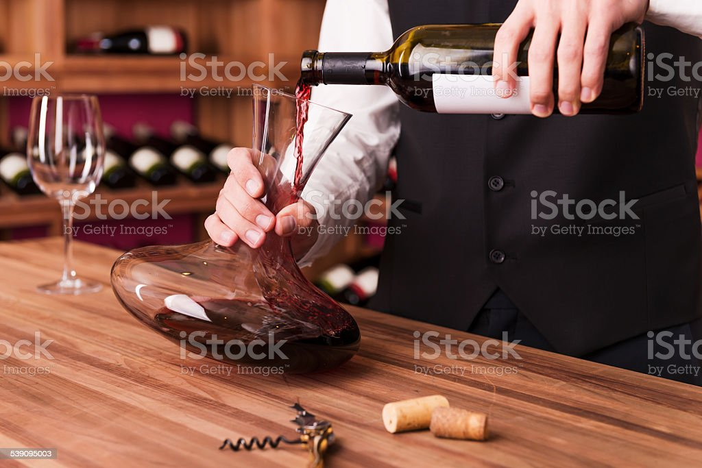 Sommelier at work. stock photo