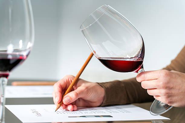 sommelier evaluating red wine. - 2015 bildbanksfoton och bilder