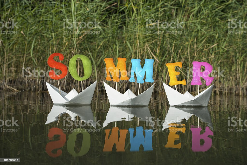 Sommer letters on white paper boats royalty-free stock photo