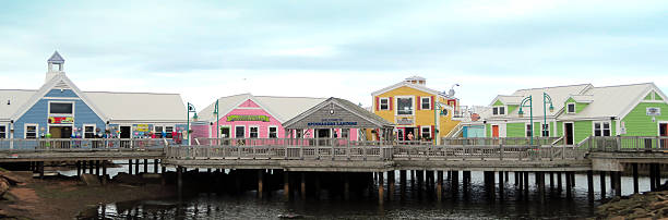 pei sommerset waterfront retail stores on a pier. - prince edward island stock photos and pictures