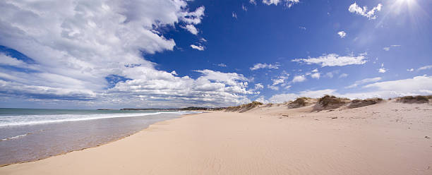 Somo beach (panoramic compositon)  cantabria stock pictures, royalty-free photos & images