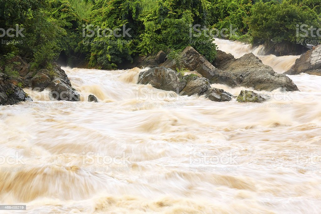 Somphamit Waterfall, Southern Laos royalty-free stock photo
