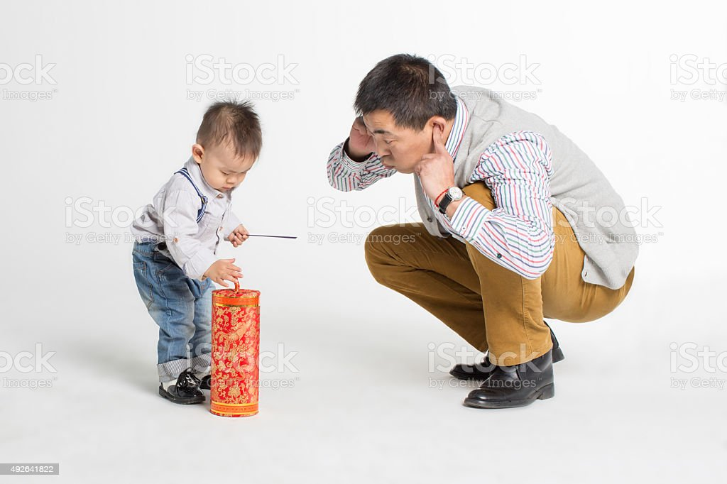 son and his beloved father stock photo