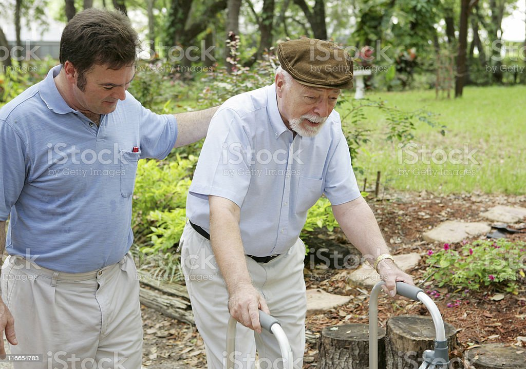 Son & Elderly Father stock photo