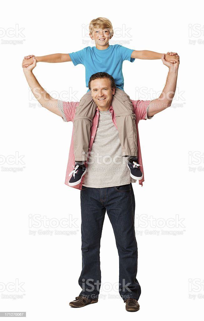 Son Sitting on His Dad's Shoulders - Isolated stock photo