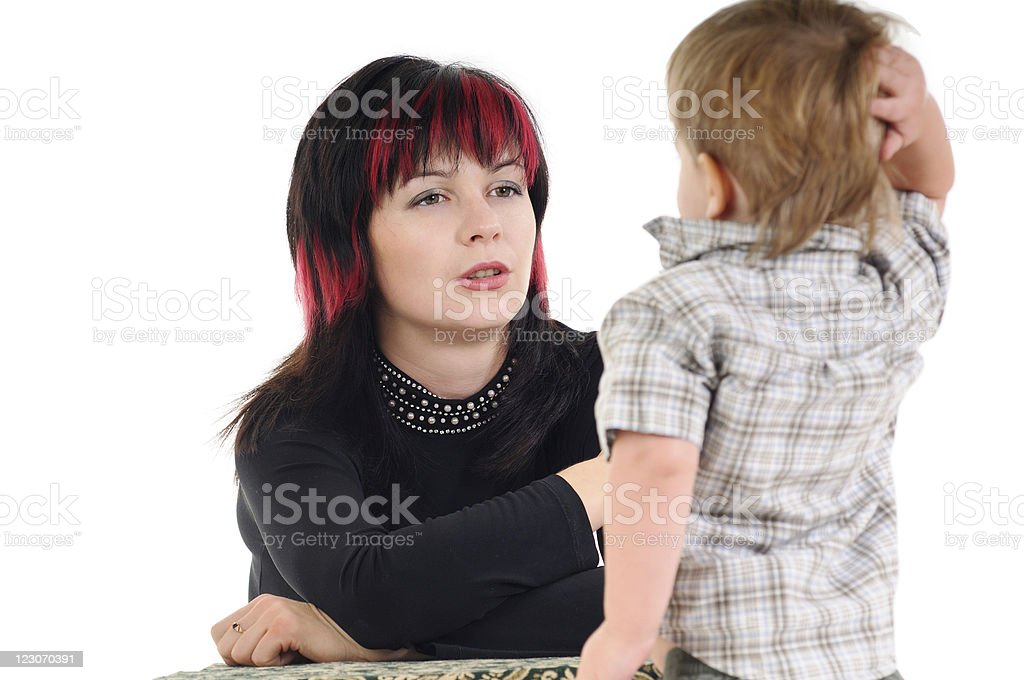 Son talk with mom royalty-free stock photo