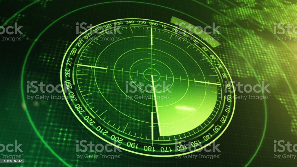 Sonar Screen For Submarines And Ships. Radar Sonar With Object On Map. Futuristic HUD Navigation monitor stock photo