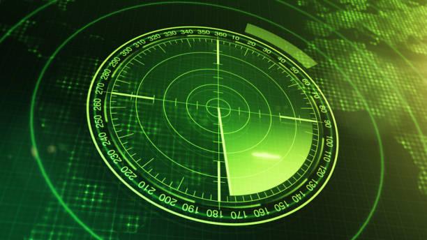 sonar screen for submarines and ships. radar sonar with object on map. futuristic hud navigation monitor - radar foto e immagini stock