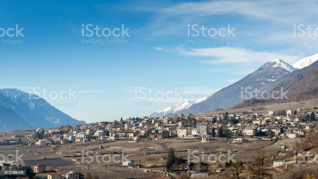 Sondrio, an Italian town and comune located in the heart of the wine-producing Valtellina region - Population 20,000 stock photo