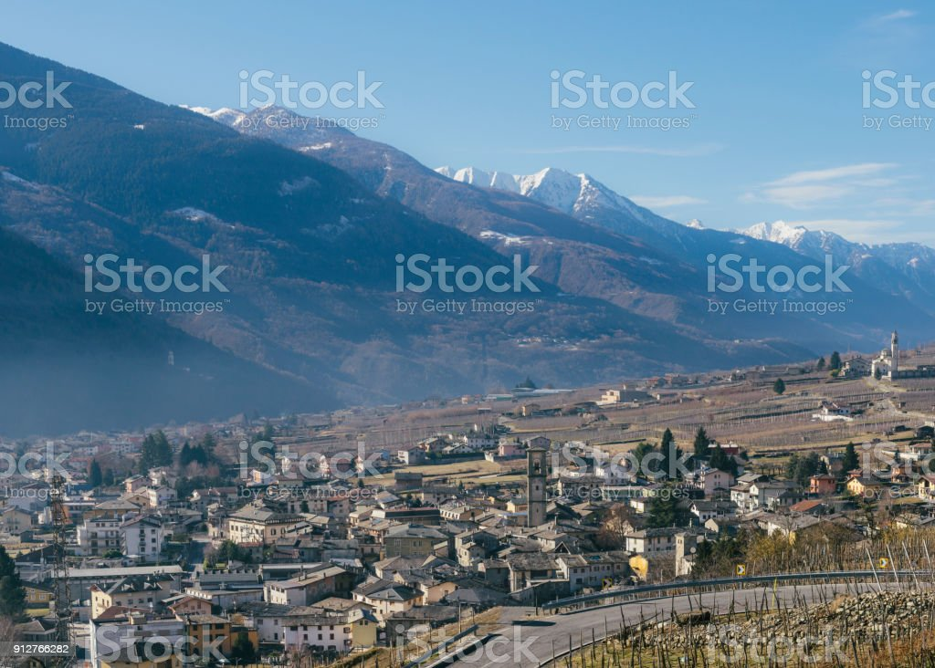 Sondrio is an Italian town and comune located in the heart of the wine-producing Valtellina region, with a population of 21,876 stock photo
