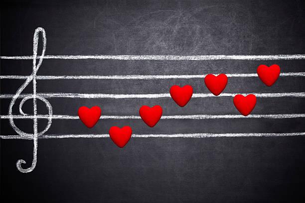 canção de amor - desenhos de notas musicais - fotografias e filmes do acervo