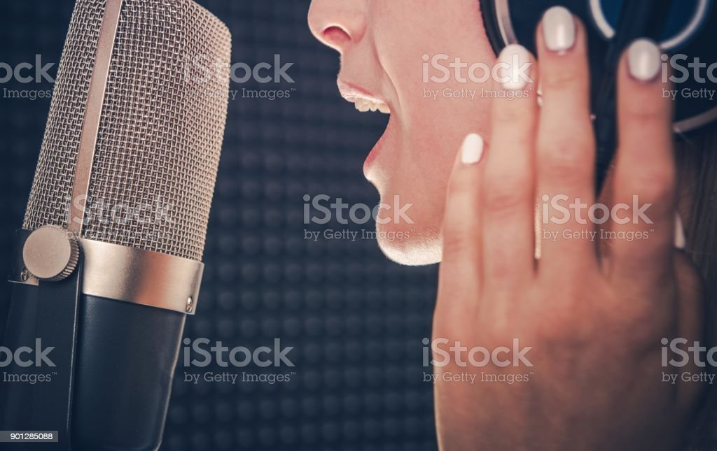 Song Recording by Singer stock photo