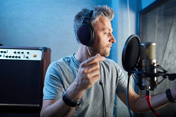 song recording - radio dj stock photos and pictures